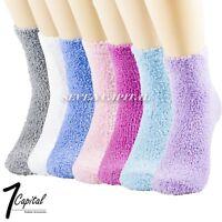 Lot 1-12 Women Winter Soft Cozy Fuzzy Warm Crew Socks Non-Skid Home Slipper 9-11
