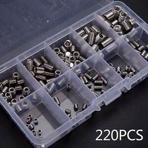 220pcs Stainless Steel Allen Head Socket Hex Set Grub Screw Assortment Cup Point