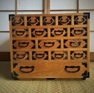 Japanese Vintage Furniture apothecary or sawing cabinet Small tansu 16.5inch