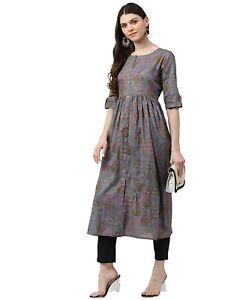 Indian Women Grey & Pink Pure Cotton Ethnic Motifs Printed Kurta Kurti New Dress