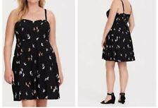 2d8b24dbdd1 Torrid Black Origami Crane Challis Mini Dress 4x 26  74818