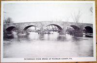 1950 Franklin County, PA Postcard: Stone Bridge-Greencastle/Upton, PA