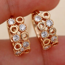 18K Gold Filled - Hollow Circle Multilayer Geometric Topaz Zircon Earrings DS