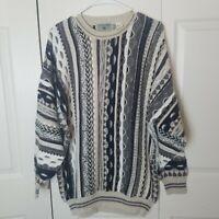 Vintage Idea Uomo 3D Textured Grandpa Sweater L Unisex Cosby Coogi Style Biggie
