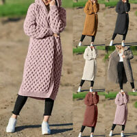 Fashion Womens Hooded Thick Knitted Sweater Cardigan Coat Long Sleeve Hooded 520