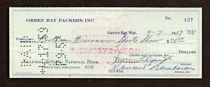 VINCE LOMBARDI Signed 1959 Check Autographed PSA/DNA LOA Green Bay Packers HOF