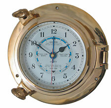 Traditional Authentic Porthole Tide Clock, hinged bezel, solid brass