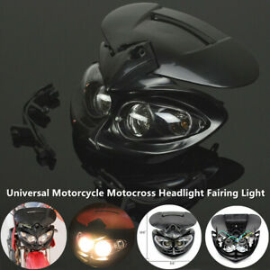 Universal Motorcycle Motocross Headlight Fairing Lamp Dual Street Fighter Bulb