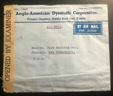 1942 Bombay India American Dyestuff Co Censored Cover To Concord NH USA