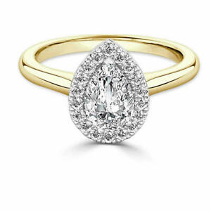 1.30 Ct Moissanite Pear Cut Yellow Gold Proposal Ring 14K Solitaire Girl ring