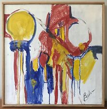 Vtg 60s Abstract Oil Painting Retro Art Wall Hanging Mid Century Modern Signed