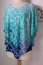 Allison Daley women top Green multi color round neck short sleeve PS New NWT