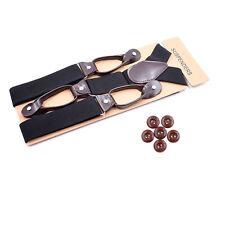 Mens Unisex Heavy Duty Suspenders Braces Trouser Belt 3.5CM Width 6 Button Holes