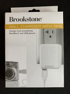 Brookstone Wall Charger With Tips - Charges Most Smartphones & USB Devices