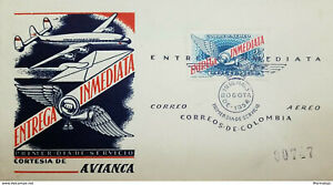 L) 1958 COLOMBIA, IMMEDIATE DELIVERY, AVIANCA, AIRPLANE, 25CTVS, AIRMAIL, FDC