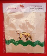 Bespoke Machine Embroidered Golden Retriever on Natural Calico shopping bag