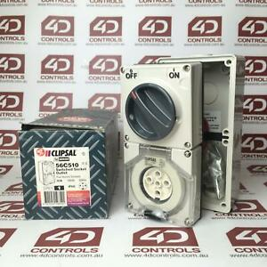 56C510 | Clipsal | Switched Socket Outlet 500V 10A 5 Round Pin, Opened
