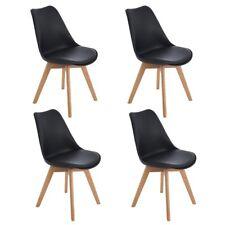 4er Schwarz Küchenstühlen retro Tulip Bürostuhl mit Beinen aus massiver Eiche