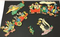 Lot Vintage Disney Pin Up Wall Hanging Casey Jr Train Mickey Mouse, Goofy, Duck