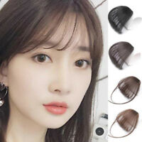 Thin Neat Air Bangs Human Hair Extensions Clip in/on Fringe Front Hairpiece New