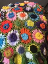 "Vintage Crocheted 3D DAISY Afghan Blanket Throw Multicolor Retro 60""x60"""