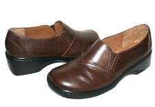 ❤️ CLARKS Brown Premium Leather Comfort Slip-On Loafers 7 M EXCELLENT! L@@K!09