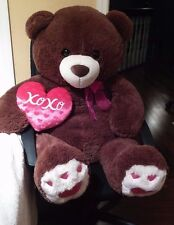 Teddy Bear Jumbo 45 Inch  Brown Plush XOXO Heart Pillow stuffed toy animal