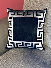 "Black & silver Greek Key/Border/ Crush Velvet Decorative Pillow Throw Cover 17"""