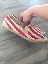 Damen Espadrilles Bast Slipper Streifen Flats Freizeit Slip Ons 826337 Schuhe