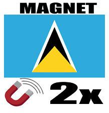 2x SAINTE LUCIE Drapeau Magnet 6x3cm Aimant déco magnétique frigo