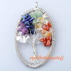1pc Unisex Oval Mix 7 Chakra Healing Gems Tree of Life Chip Beads Pendant Gift