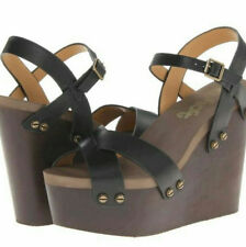 164957904a465 Flogg Black Leather Open Toe buckle ankle foam wood platform Wedge