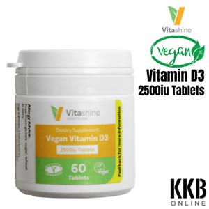 100% Vegan Vitamin D3 Vegetarian Supplement 2500iu Chewable 60 Tablets