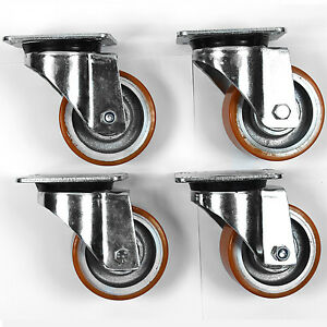 """Polyurethane Tyre Cast Iron Centre Swivel Castors, 4-Pack, (125MM/5"""")"""