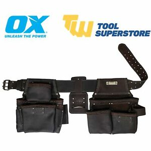 Ox Tools Oil Tanned Leather Tool Belt Construction Rig 4 Piece OutBack Pro Tools