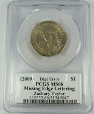 2009 Zachary Taylor Presidential Dollar PCGS MS66 Missing Edge Lettering Moy