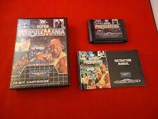 Super Wrestlemania Sega Mega Drive (Genesis) COMPLETE w/ Box manual game WORKS!