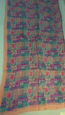 NWT 100% PURE SILK LARGE SCARF TRIBAL MULTICOLORED  VTG 90S GRUNGE STYLE VINTAGE