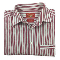 RM Williams Men's Long Sleeve Striped Cotton Shirt Red White Size S