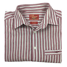 RM Williams Men's Long Sleeve Striped Cotton Shirt Red and White Size S Regular