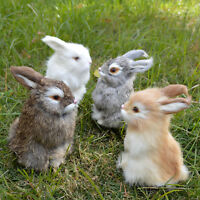 4 Realistic Rabbits Handmade Easter Bunnies Fur Animals Set Holiday Photo Props