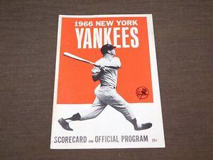 VINTAGE  BASEBALL 1966 NEW YORK YANKEES SCORECARD & OFFICIAL PROGRAM VS CLEV IND