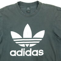 Adidas Trefoil T-Shirt MEDIUM Nicely Faded Black Distressed Skate Punk Grunge