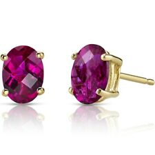 1.94 ct Oval Shape Red Created Ruby Stud Earrings in 14K Yellow Gold