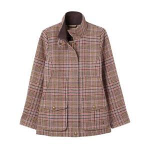 Joules Womens Field Coat Tweed Jacket - Pink Tweed - RRP £249