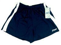 Asics Womens Navy Blue Medley Running Shorts w/ Drawstring & Liner Sz M