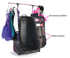 New Grit Dance Tower Duffels with Rack and Rolling Wheels  FOLD AWAY Black Pink