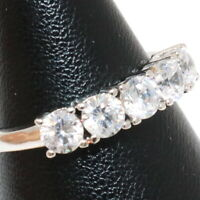 Sparkling Cubic Zirconia Ring Women Wedding Jewelry Gift 14K Gold Plated