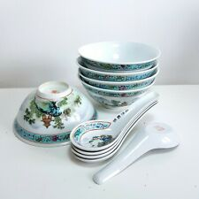 More details for 1980s chinese jingdezhen porcelain turqoiuse rice bowls & spoons, set of 5