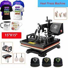 15x15 Heat Press Transfer Printer 8 In 1 Press Diy T Shirt Mug Cap Plate Set